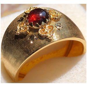 MILOR 14KT Yellow Gold Garnet Wide Band Ring 10.25